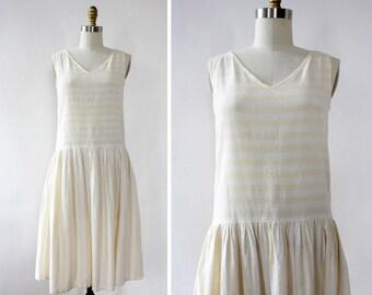 Indian Cotton Dress XS/S • Vintage Cotton Dress • Light Yellow Dress • Summer Cotton Dress • 80s Dress • Drop Waist Dress | D1275