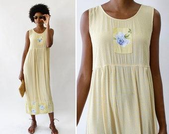 Vintage Floral Dress S/M • Carol Anderson Dress • Loose Floral Dress • Yellow Gingham Dress • Tea Length Dress • Floral Midi Dress | D1417