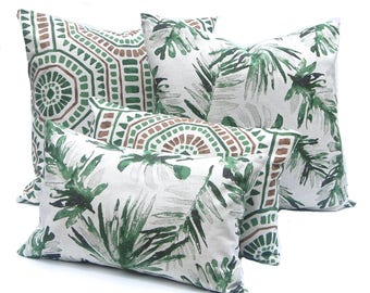 Palm Leaf Pillows - Green Pillows - Designer Pillow Collection - Basketweave Pillow - Tropical Decor - Heavy Weight Flax - Sofa Pillows
