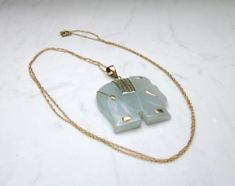 Vintage Jade and 10k Solid Yellow gold Elephant with 20 inch Chain