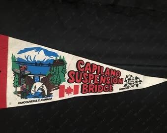 Vintage Vancouver Canada Capilano Bridge Pennant