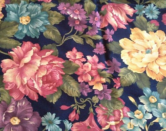 Large Colorful Floral Print on Dark Blue Cotton Fabric 2 1/2 Yards  X1027