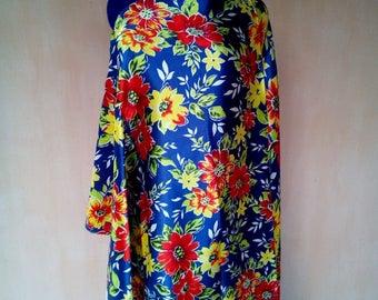 Uzbek vintage floral blue silk fabric 150cm. VI025