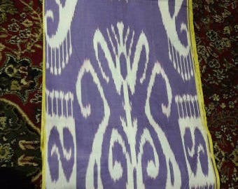 Uzbek traditional lilac cotton woven ikat fabric by meter. Tribal, ethnic, boho fabric