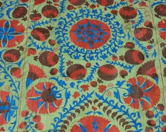 Uzbek hand embroidered suzani Pomegranates and Medallions. Wall hanging, bed cover suzani. SWG004