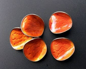 ANNIVERSARY SALE EINAR Mohdahl Mid Century Norway - Rust Guilloche Enamel 925S Sterling Brooch and Earrings Set