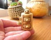 Woodland small furniture with drawers and bird, forest stump box, miniature box, woodland box, trinket box
