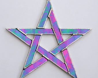 Stained Glass Pentagram 5 pointed star in solid black iridescent glass