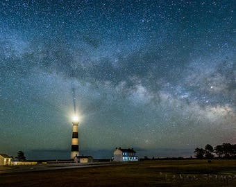 Bodie Lighthouse,Oversize,Milky Way,Night Photography,Outer Banks,North Carolina,OBX,Wall Art,Beach Decor,Home Decor,Blue,Metal Print