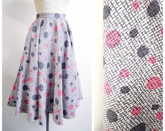 1950s Grey pink polka dot cotton full circle day skirt / 50s St Michael crosshatch check print circular skirt - XS S
