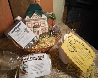 English Cottage Tea Pot Gift Basket, ceramic teapot, scones, shortbread, herbal tea, infuser, gift set, basket tray