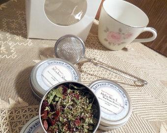 Tea cup with tea tins, Demi tea cup and three mini tins herb tea, herbal tea, rose hip, lavender, tisane, gift basket, gift set, gift box