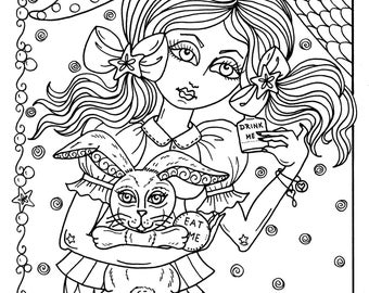 Instant Download Alice in Waterland 5 Coloring pages be the Artist Adult color books fantasy art color page digi stamp digital downloads