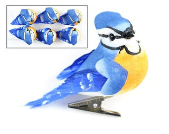 Less Than Perfect- SIX Decorative Blue and Yellow Blue Jays On CLIPS - Mushroom Birds - Home Decor, Christmas Decorations, Millinery, Crafts