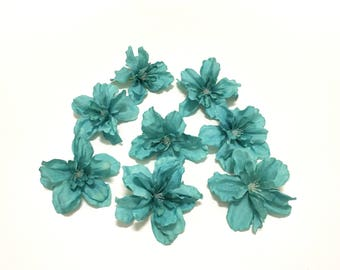 8 Teal Artificial Delphinium Blossoms - Artificial Flowers, Silk Flowers, Hair Accessories, Flower Crown, DIY Wedding, Millinery, Tutu, Hat