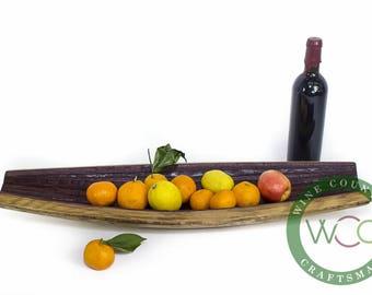Barrel Stave Boat - KATRA 3 - Wine Barrel Stave Fruit Tray // Display