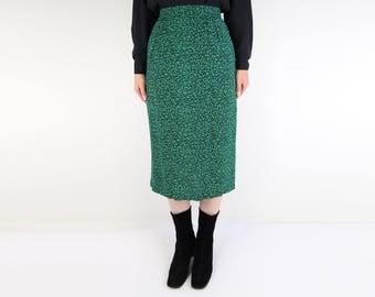 VINTAGE 1980s Skirt Static Print Green Black