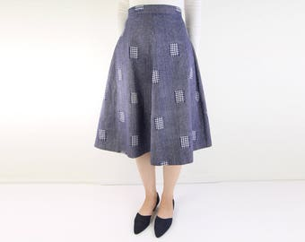 VINTAGE Denim Patchwork Skirt 1970s Blue Circle Skirt