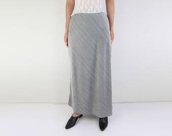 VINTAGE Silver Skirt 1990s Long Maxi