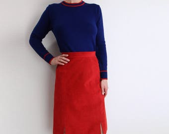 VINTAGE Womens Sweater Blue Red 1980s Collegiate Knit Pullover Small