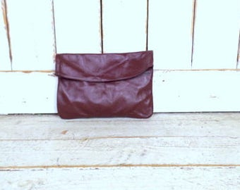 Vintage  dark red/burgundy/oxblood leather clutch/leather envelope clutch purse