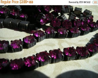 SALE Rustic Flea Market Style 6.1mm 29ss Large Chunky Dark Brown/black Patina brass HOT FUCHSIA Rhinestone crystal cup chain 6.1mm 29ss