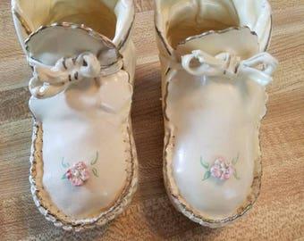 Vintage Porcelynized Trade Mark Baby Shoes Leather Roses Keepsake