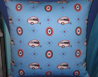 """Camping Pillow 17"""" X 17"""" Tab 400 Teardrop Trailers on BLUE"""