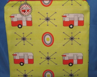 """Camping Zipper Tote, Purse, Bag 8"""" X 8"""" Vintage Red Shasta Style Trailers on Yellow"""