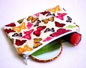 Butterflies purse, butterfly fabric purse, butterfly fabric cotton purse, cotton purse, butterfly print coin purse, butterflies coin purse