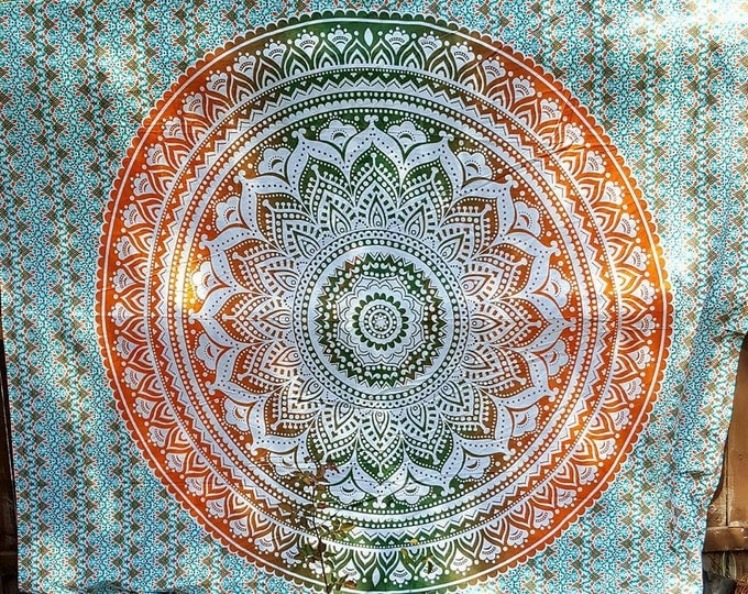 Green and Orange Mandala Tapestry Boho Hippie Tapestry Wall Hanging Beach Blanket Yoga Mat Meditation Mat Dorm Decor Music Festival Tapestry