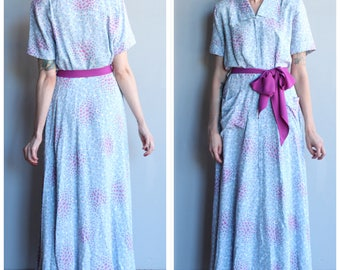 1940s Dressing Gown // Saybury Bubbles & Fizz Rayon Dressing Gown // vintage 40s dressing gown