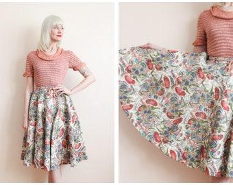 1950s Skirt // Flourishing Floral Felt Circle Skirt // vintage 50s skirt