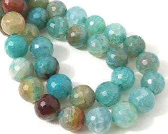 Fired Crackle Agate Beads, 12mm, Aqua Blue, Round, Faceted, Gemstone Beads, Large, 14.5 Inch Strand - ID 609