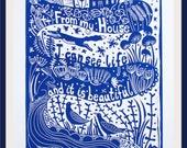 linocut, XL,  Life is beautiful, landscape print, blue and white art, bird art, fox print, inspirational art, printmaking, blue on blue art