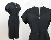 1950s Black Sheath Dress - Pintucked yoke, rhinestone accent bow - L-XL