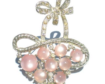 Pink Flower Basket Brooch with Pink Moonglow Lucite Cabochons on Silver Tone Metal with Clear Rhinestones - Art Deco Era Vintage Jewelry