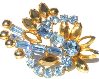 Vintage Rhinestone Brooch with Light Blue & Gold Rhinestones with Floral Spiral and Spray