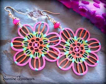 Hippie Jewelry, Painted Wood Earrings, Colorful Jewelry, Big Boho Earrings, Hot Pink Chalcedony Earrings, Flower Earrings