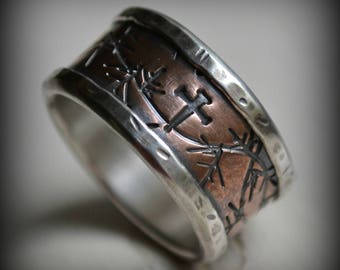 mens wedding band, rustic fine silver and copper crown of thorns ring, handmade wide band ring, manly ring