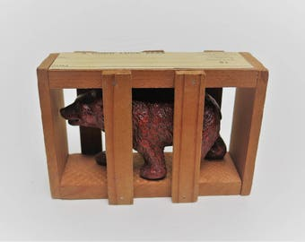San Diego Zoo Souvenir 1952 Wood Crated Good Luck Bear