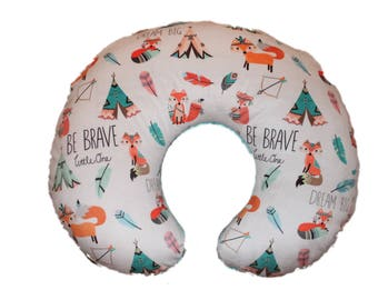 boppy cover- nursing pillow cover- unisex boppy cover, fox boppy cover-fox minky cover with papaya  minky back- Ships Today