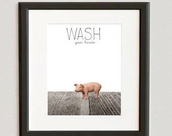WEEKEND SALE Baby Piglet Wash Your Hands Photo Print  Farm Animals, Kids Bathroom art, Wall Art Prints, - Children Room, Bathroom Decor,