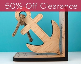SALE! CLEARANCE 50% OFF! Anchor Wooden Bookend: Nautical Baby Nursery Ocean Sea Life Room Kids Decor
