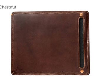 Chestnut Leather Mouse Pad & Desk Protector l Leather Mouse Pad