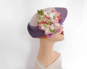 Vintage lavender hat, tilt 1940s 1950s, pink flowers