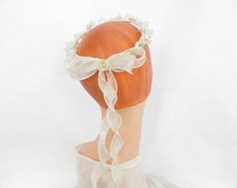Vintage bridal crown, flowered wedding  bride crown