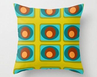 SALE Modern Pillow, Green Geometric Pillow, Mid Century Modern Pillow, Retro Pillow, Retro Green Pillow, Decorative Pillow
