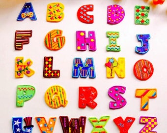 Colorful Letter Patches - Iron on or Sewing on Patch Letter Patches A-Z Alphabet Patches colorful Patch Embellishments Embroidery fonts