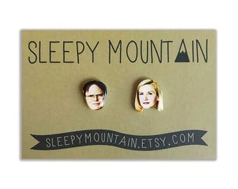 Dwight and Angela Earrings - The Office Stud Earrings